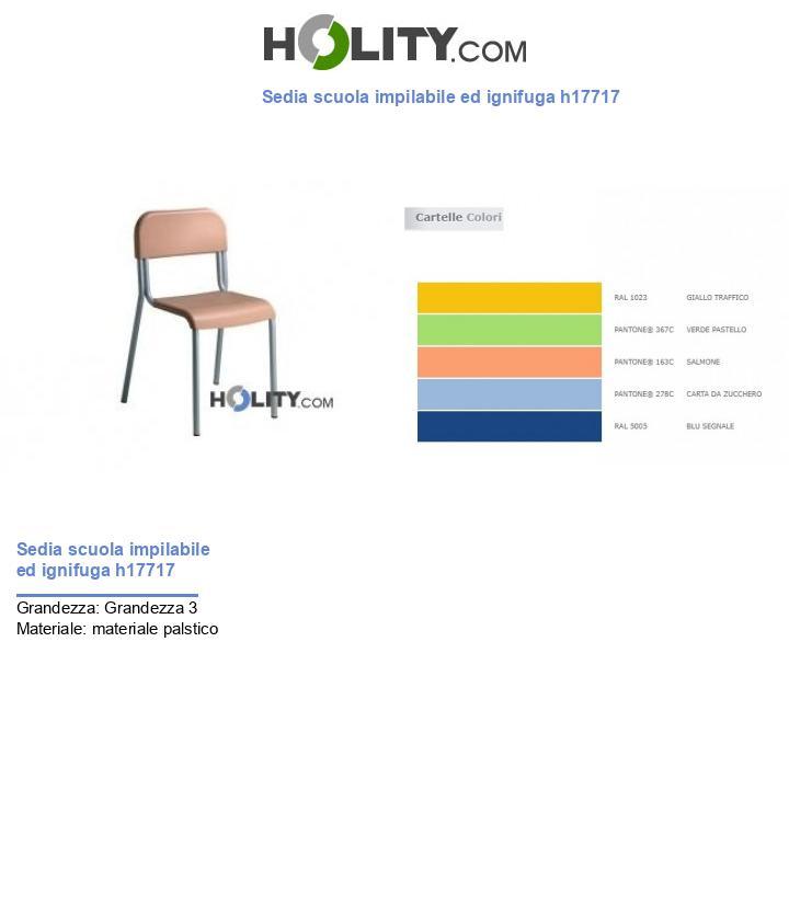 Sedia scuola impilabile ed ignifuga h17717