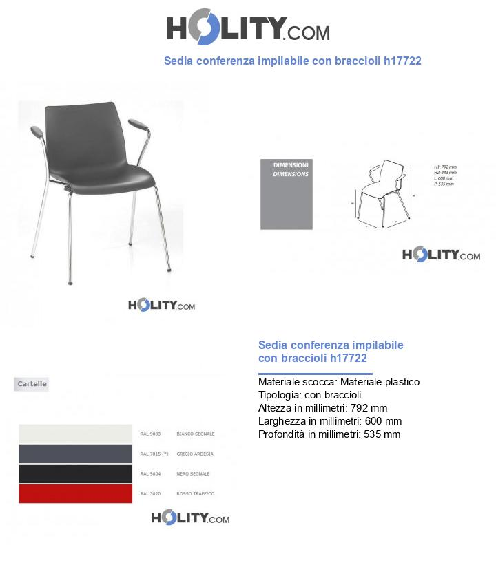 Sedia conferenza impilabile con braccioli h17722