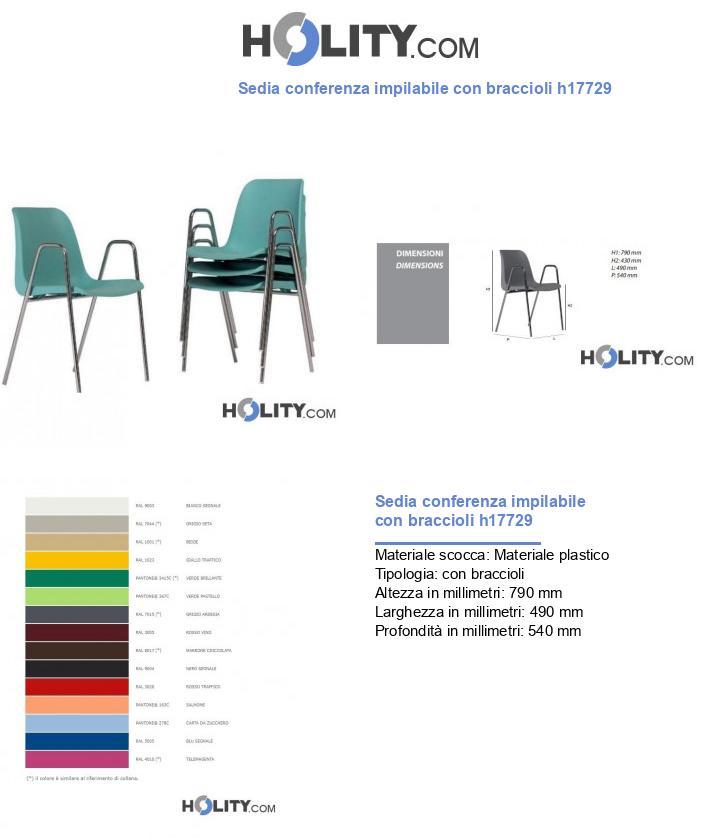 Sedia conferenza impilabile con braccioli h17729