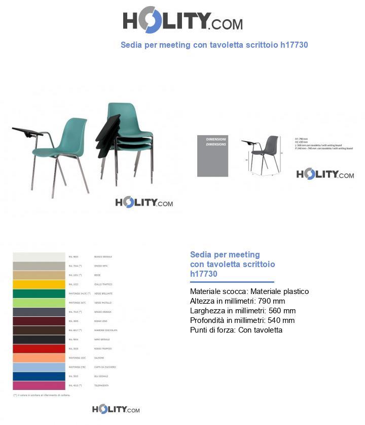 Sedia per meeting con tavoletta scrittoio h17730