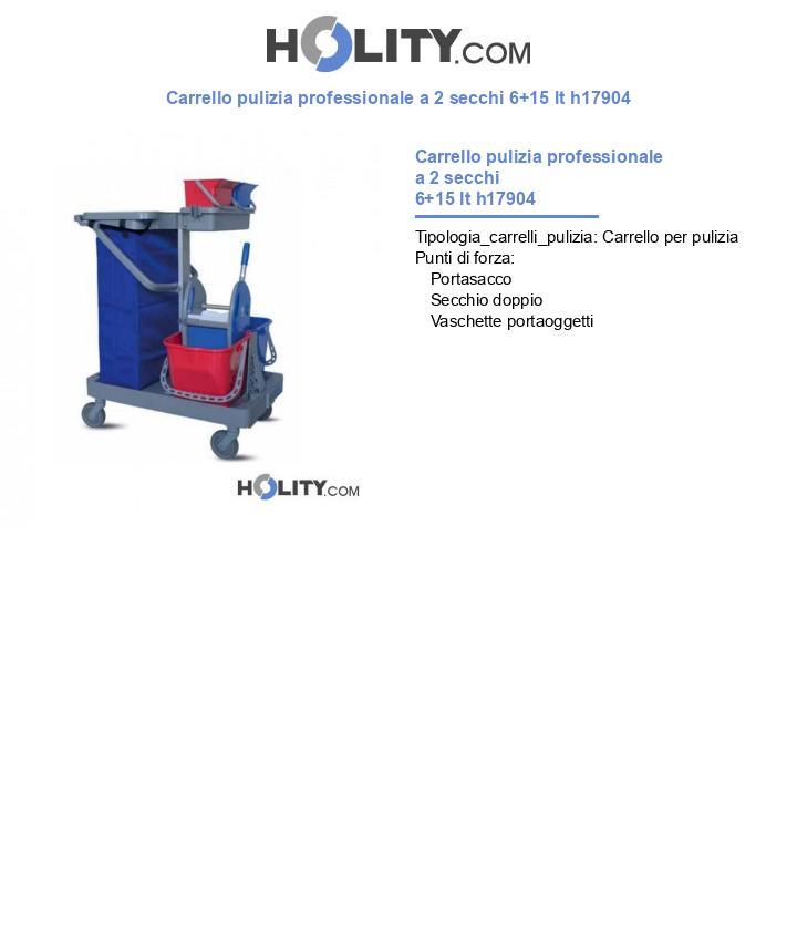 Carrello pulizia professionale a 2 secchi 6+15 lt h17904