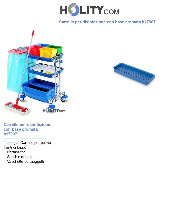 Carrello per disinfezione con base cromata h17907