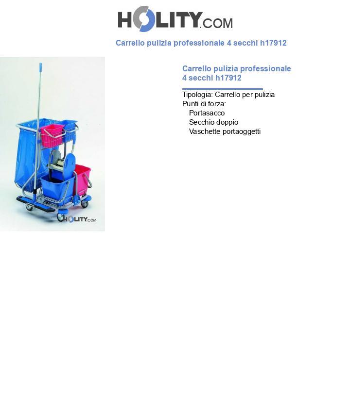 Carrello pulizia professionale 4 secchi h17912