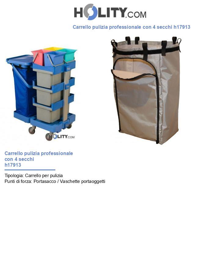 Carrello pulizia professionale con 4 secchi h17913