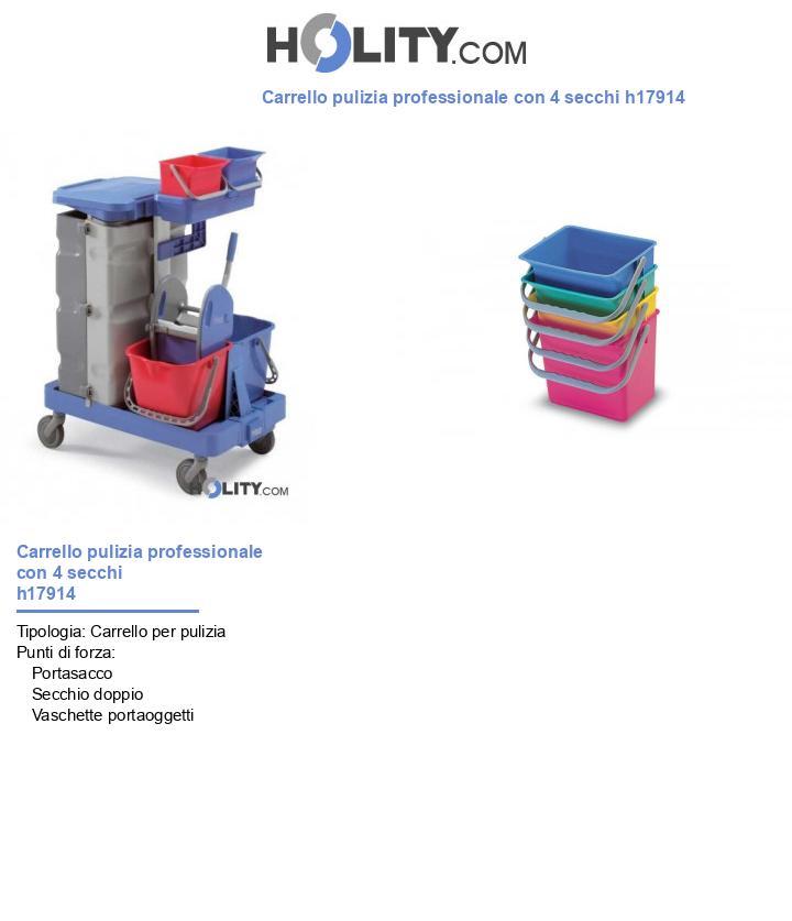 Carrello pulizia professionale con 4 secchi h17914