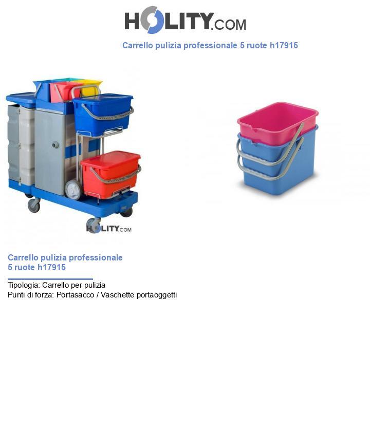 Carrello pulizia professionale 5 ruote h17915
