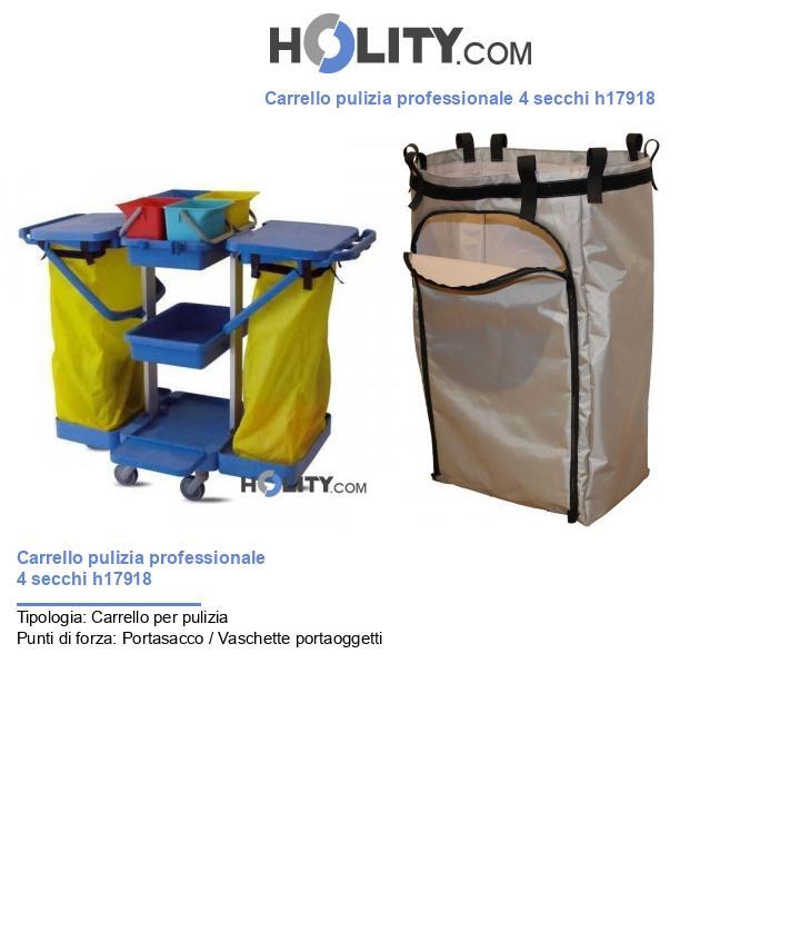 Carrello pulizia professionale 4 secchi h17918