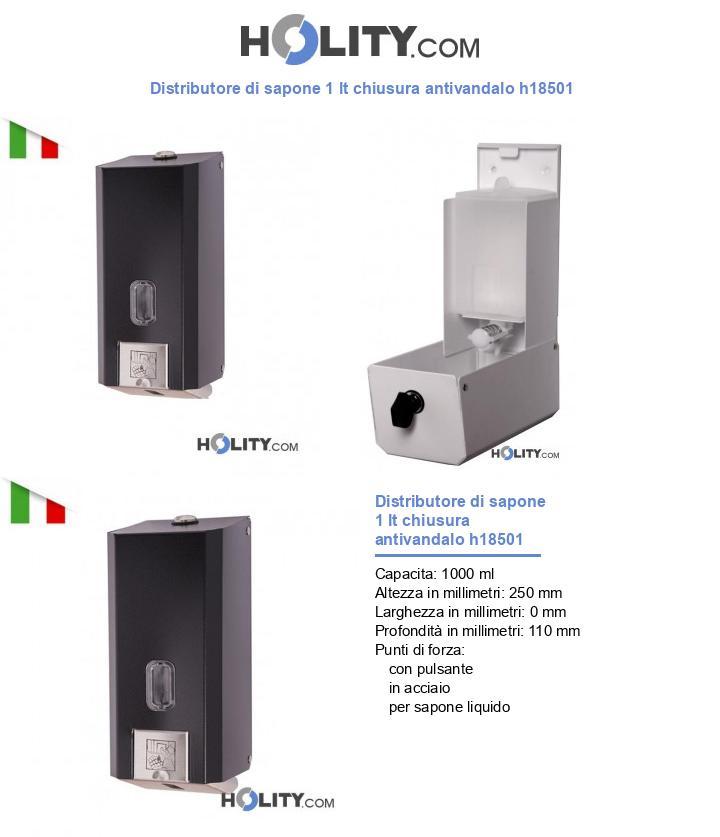 Distributore di sapone 1 lt chiusura antivandalo h18501