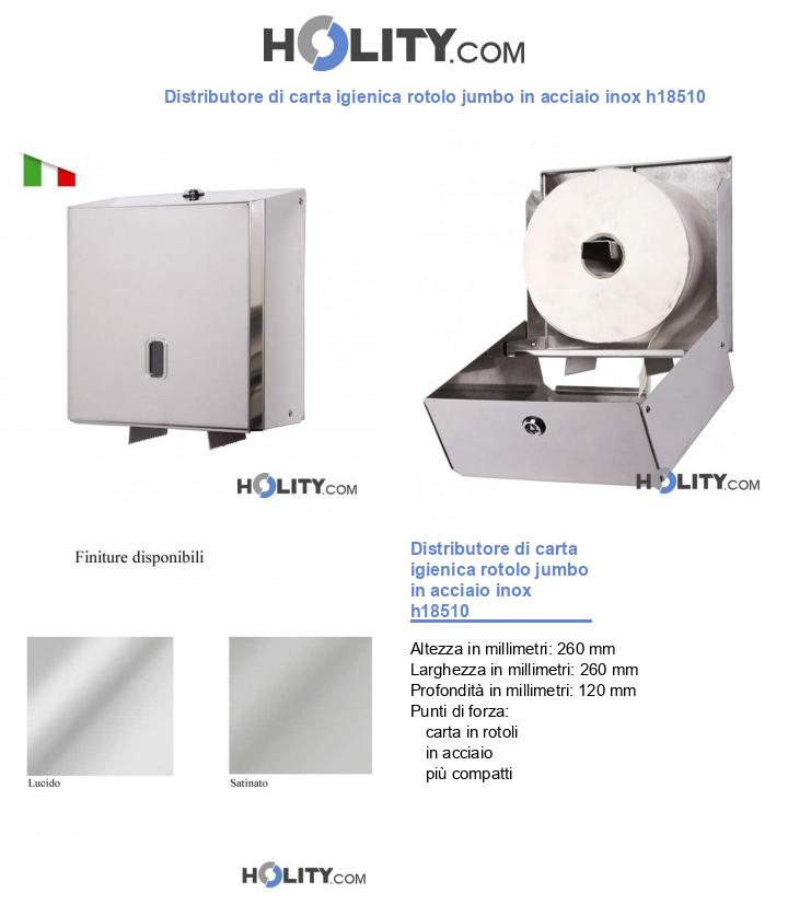 Distributore di carta igienica rotolo jumbo in acciaio inox h18510