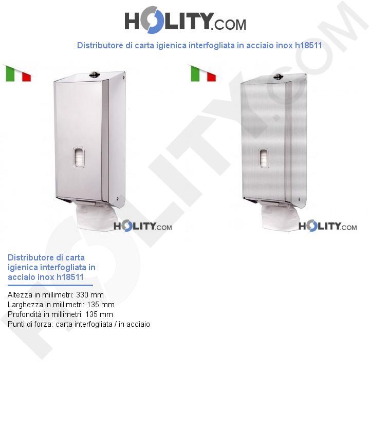 Distributore di carta igienica interfogliata in acciaio inox h18511