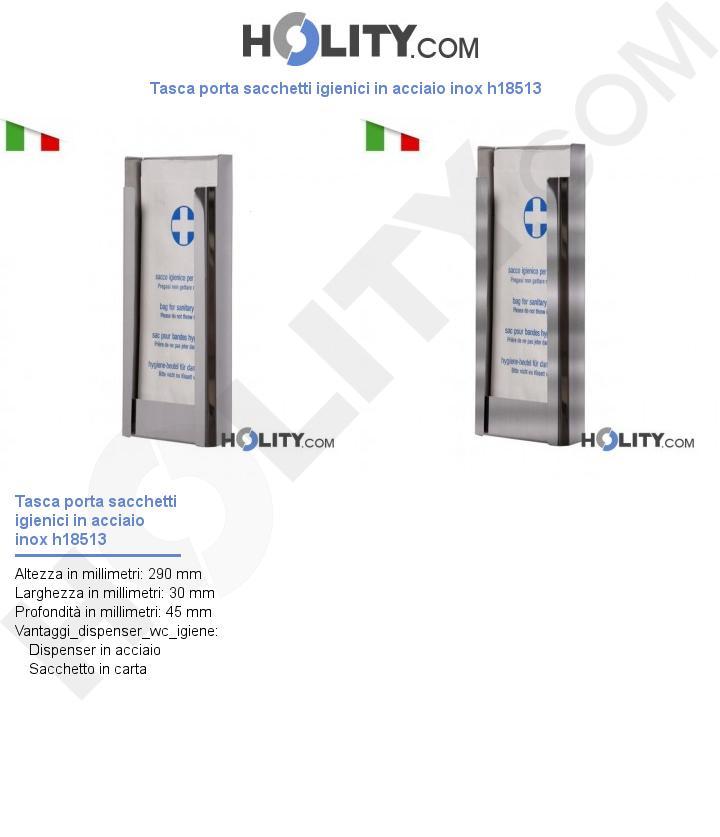 Tasca porta sacchetti igienici in acciaio inox h18513