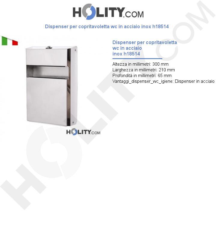 Dispenser per copritavoletta wc in acciaio inox h18514