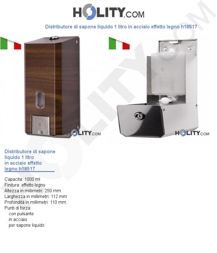 Distributore di sapone liquido 1 litro in acciaio effetto legno h18517