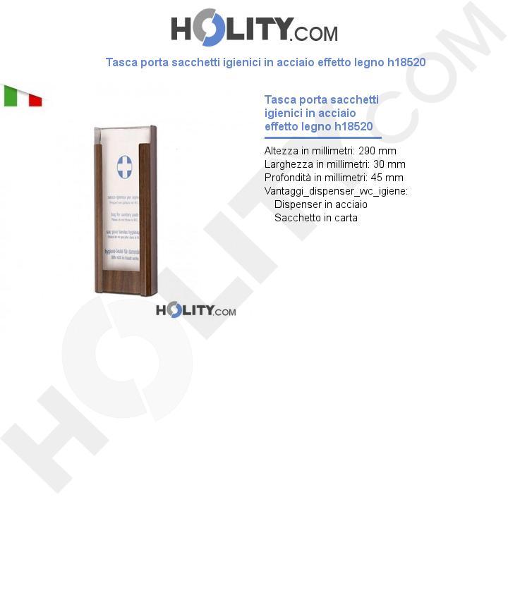 Tasca porta sacchetti igienici in acciaio effetto legno h18520