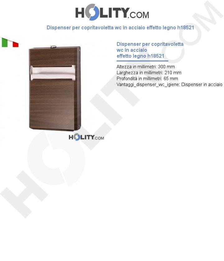 Dispenser per copritavoletta wc in acciaio effetto legno h18521