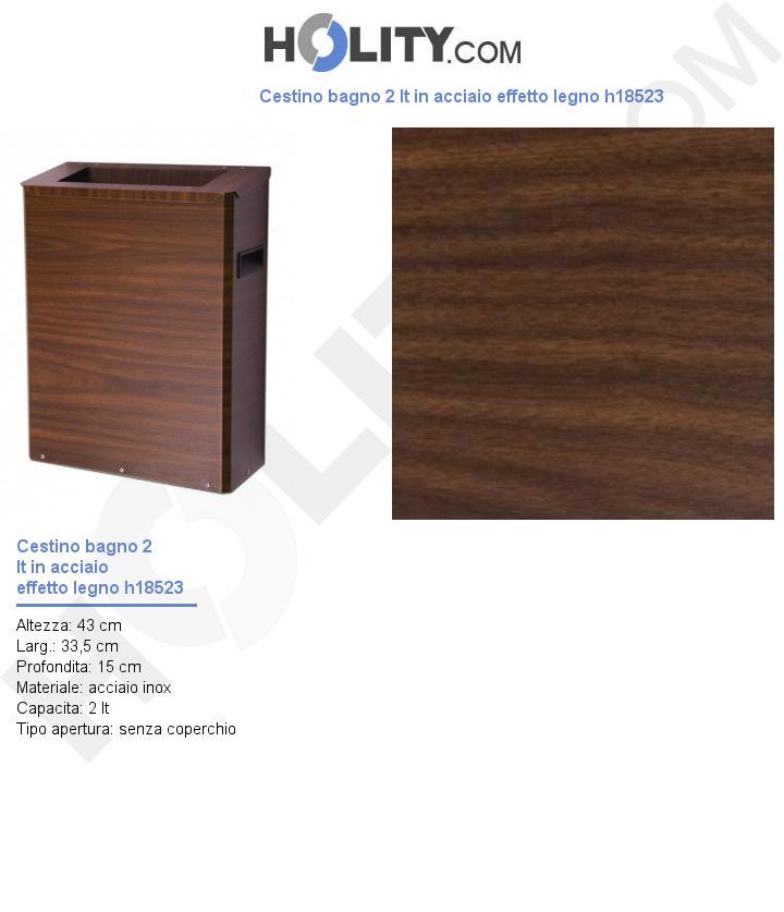 Cestino bagno 2 lt in acciaio effetto legno h18523