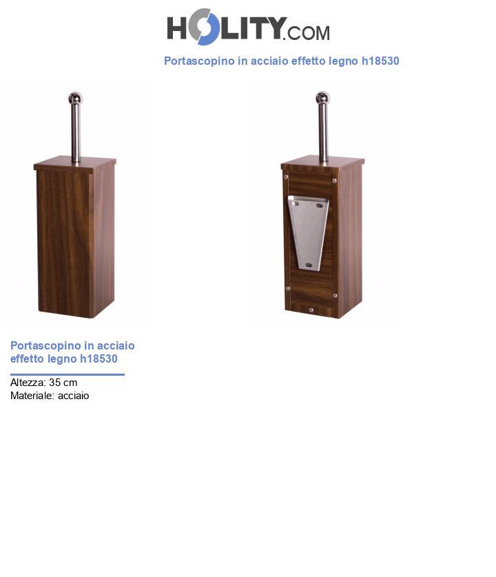 Portascopino in acciaio effetto legno h18530