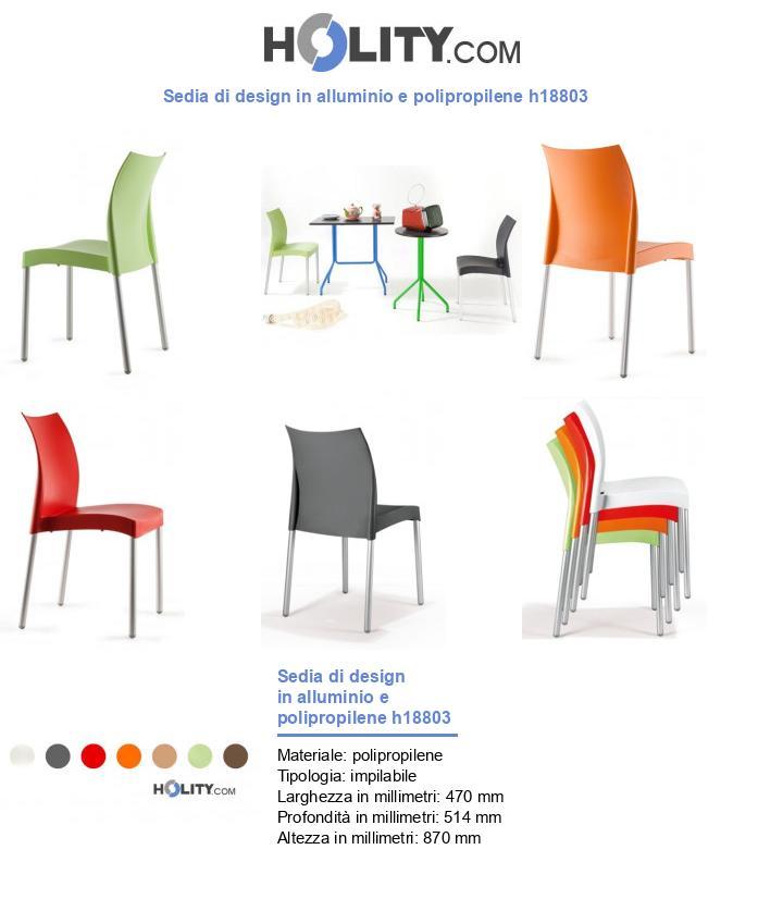 Sedia di design in alluminio e polipropilene h18803