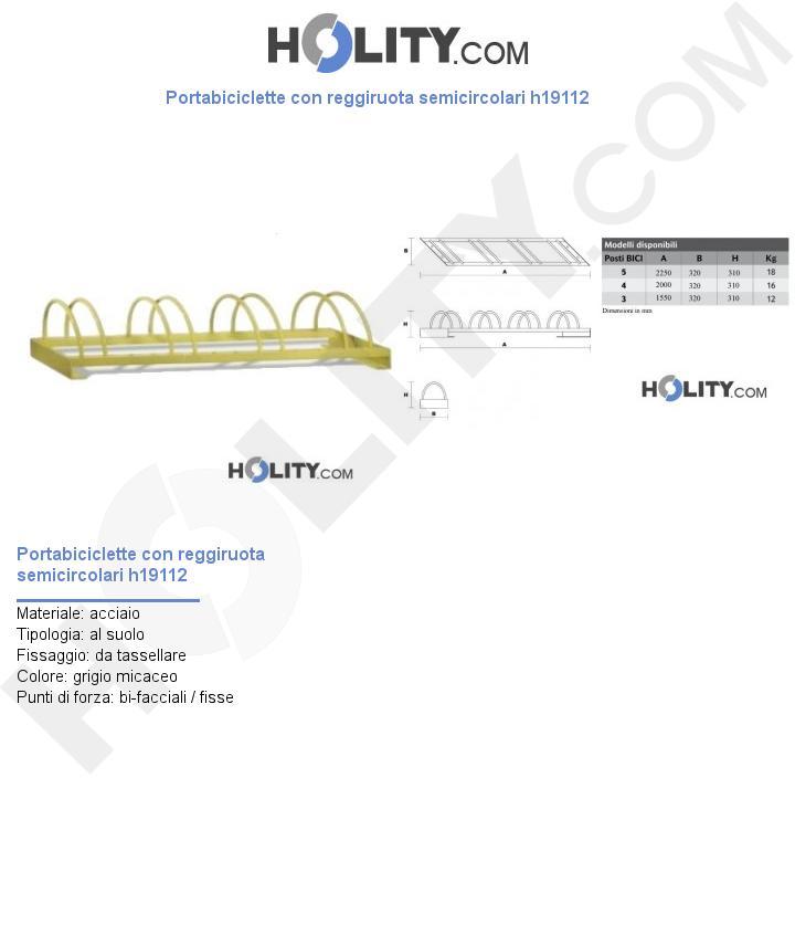 Portabiciclette con reggiruota semicircolari h19112