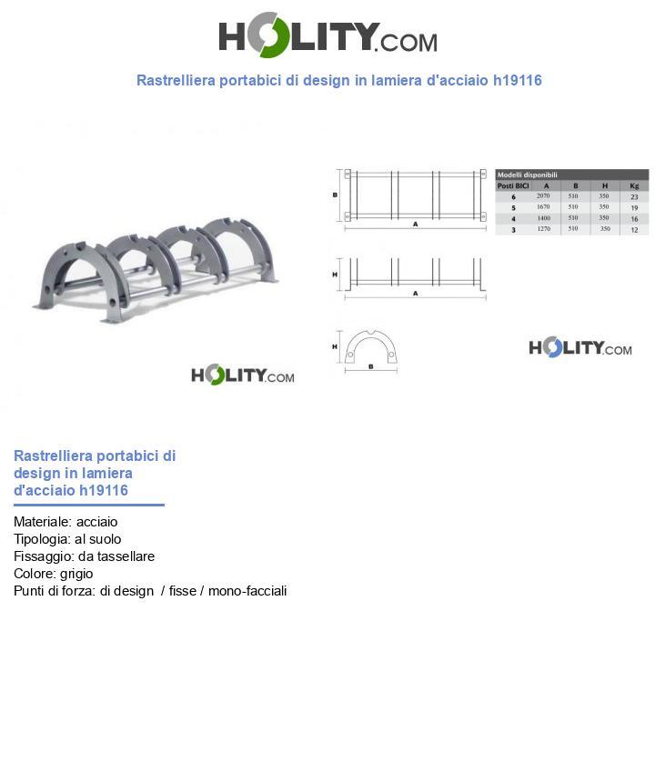 Rastrelliera portabici di design in lamiera d'acciaio h19116