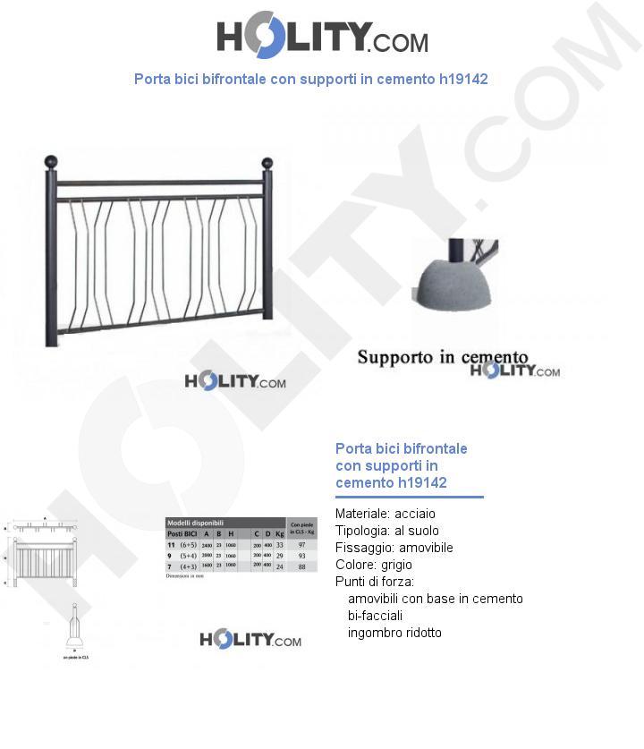 Porta bici bifrontale con supporti in cemento h19142
