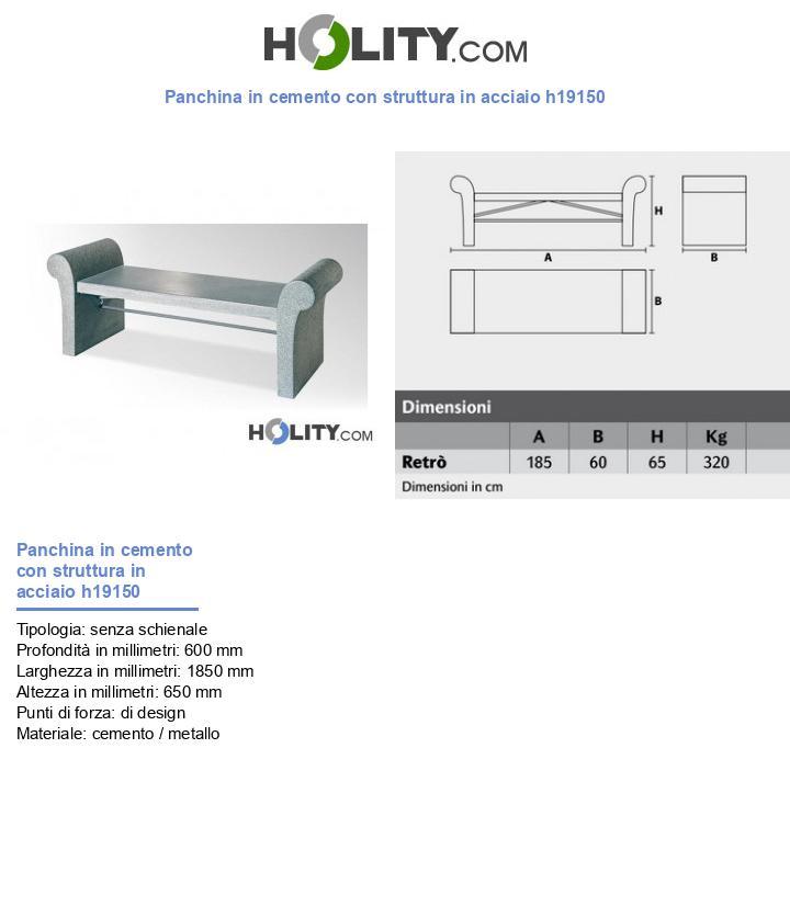 Panchina in cemento con struttura in acciaio h19150