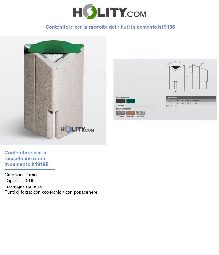 Contenitore per la raccolta dei rifiuti in cemento h19185