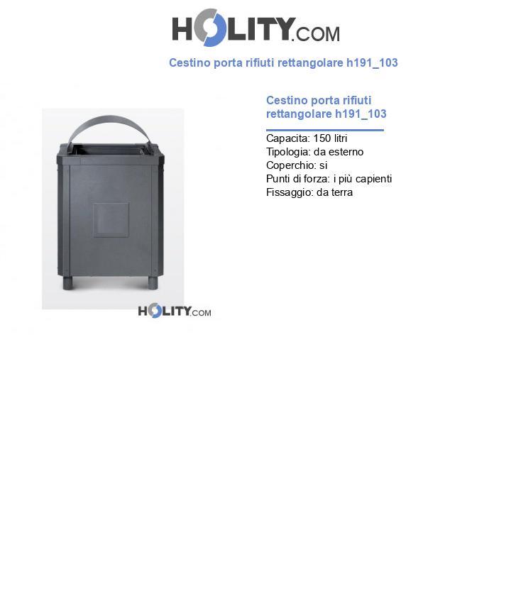 Cestino porta rifiuti rettangolare h191_103