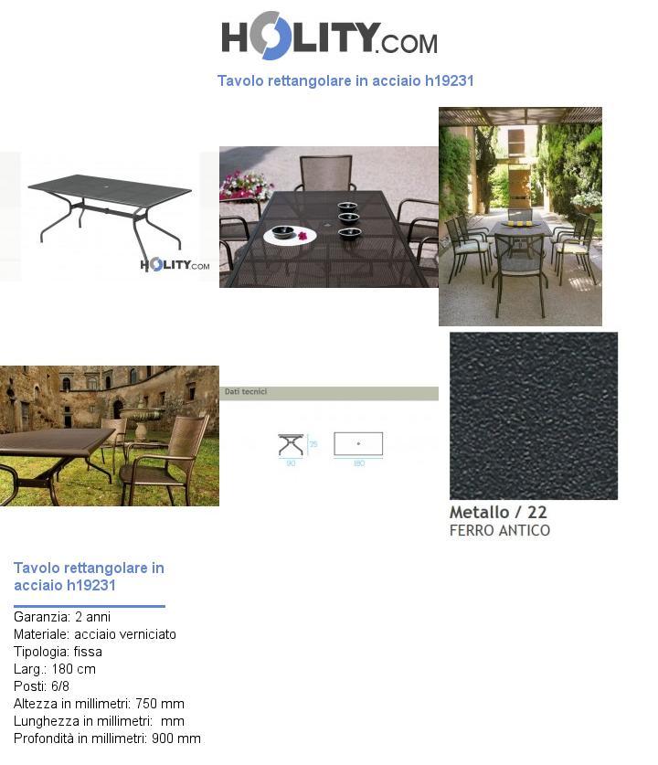 Tavolo rettangolare in acciaio h19231