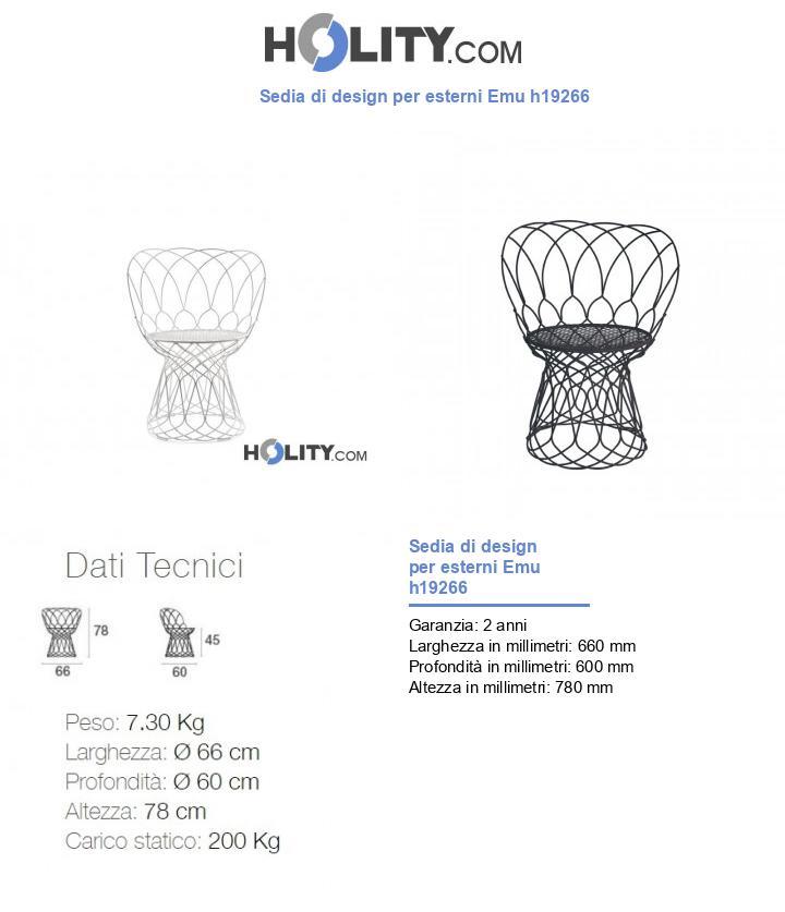 Sedia di design per esterni Emu h19266