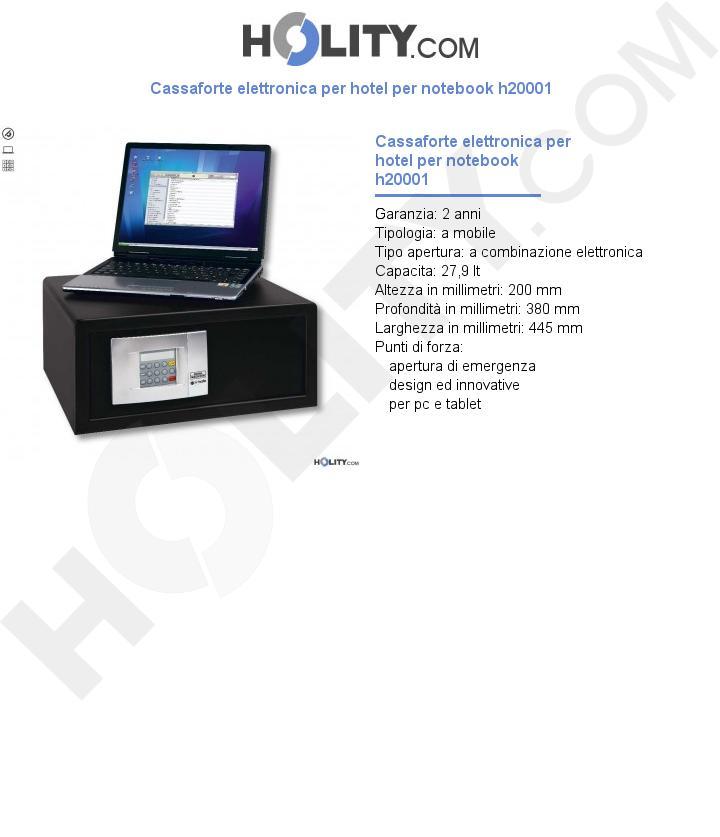 Cassaforte elettronica per hotel per notebook h20001