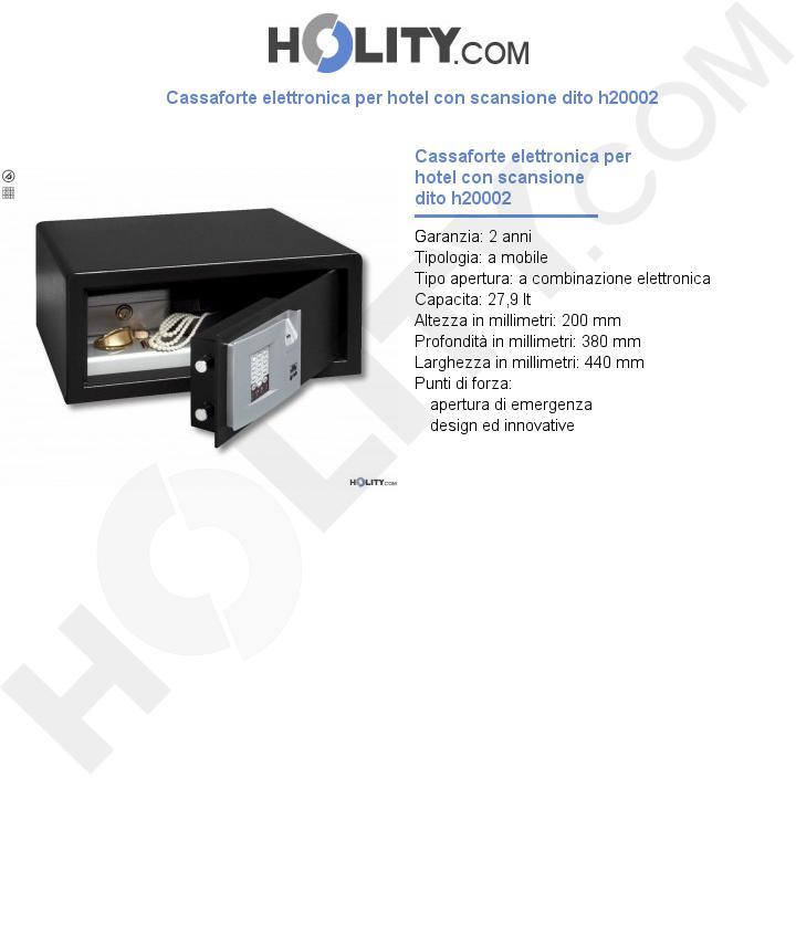 Cassaforte elettronica per hotel con scansione dito h20002