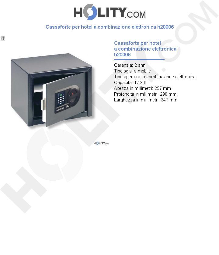 Cassaforte per hotel a combinazione elettronica h20006