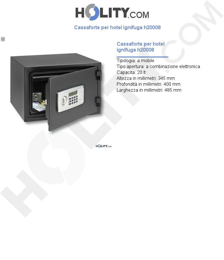Cassaforte per hotel ignifuga h20008