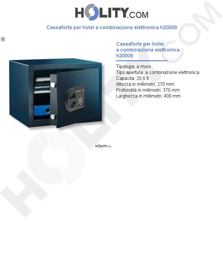 Cassaforte per hotel a combinazione elettronica h20009
