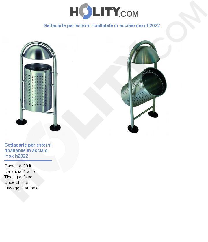 Gettacarte per esterni ribaltabile in acciaio inox h2022