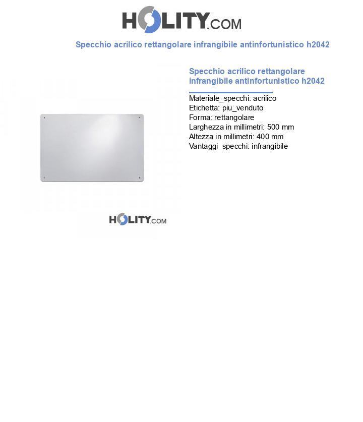 Specchio acrilico rettangolare infrangibile antinfortunistico h2042