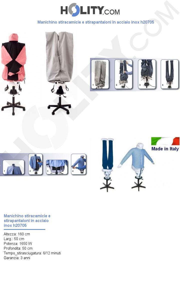 Manichino stiracamicie e stirapantaloni in acciaio inox h20705