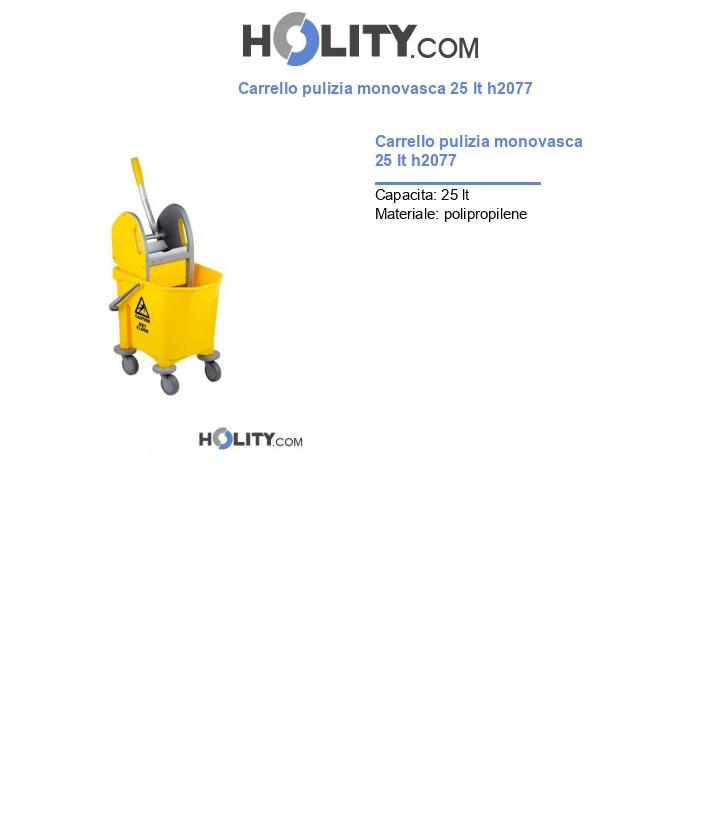 Carrello pulizia monovasca 25 lt h2077