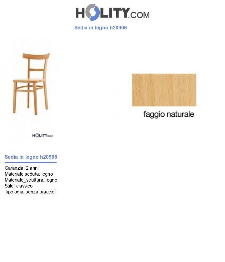 Sedia in legno h20906
