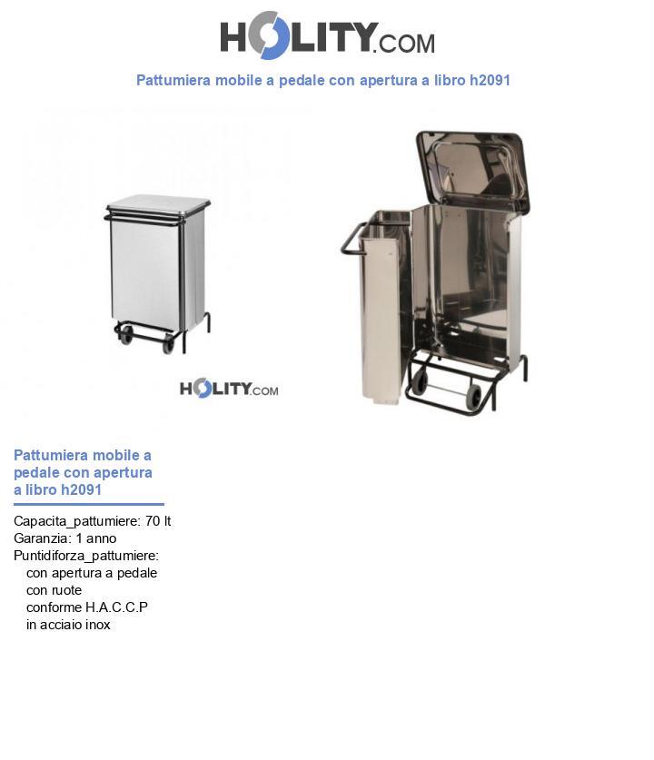 Pattumiera mobile a pedale con apertura a libro h2091