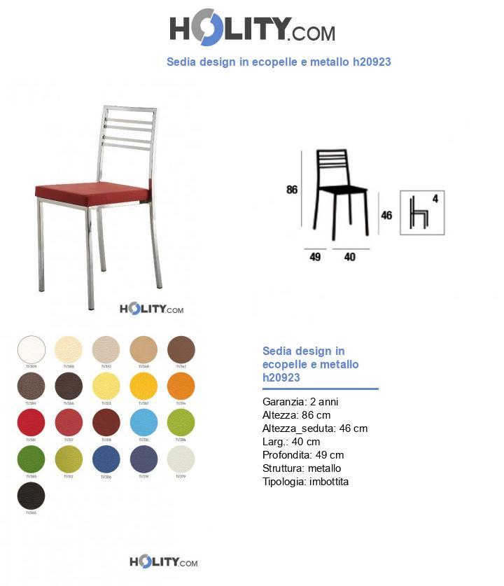 Sedia design in ecopelle e metallo h20923