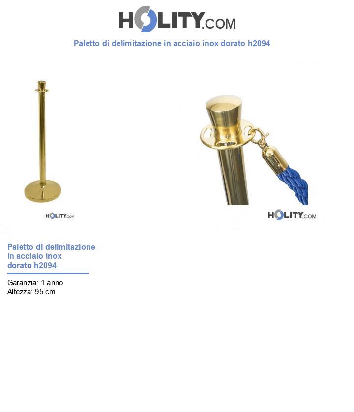 Paletto di delimitazione in acciaio inox dorato h2094
