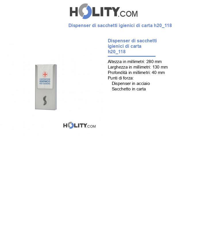 Dispenser di sacchetti igienici di carta h20_118