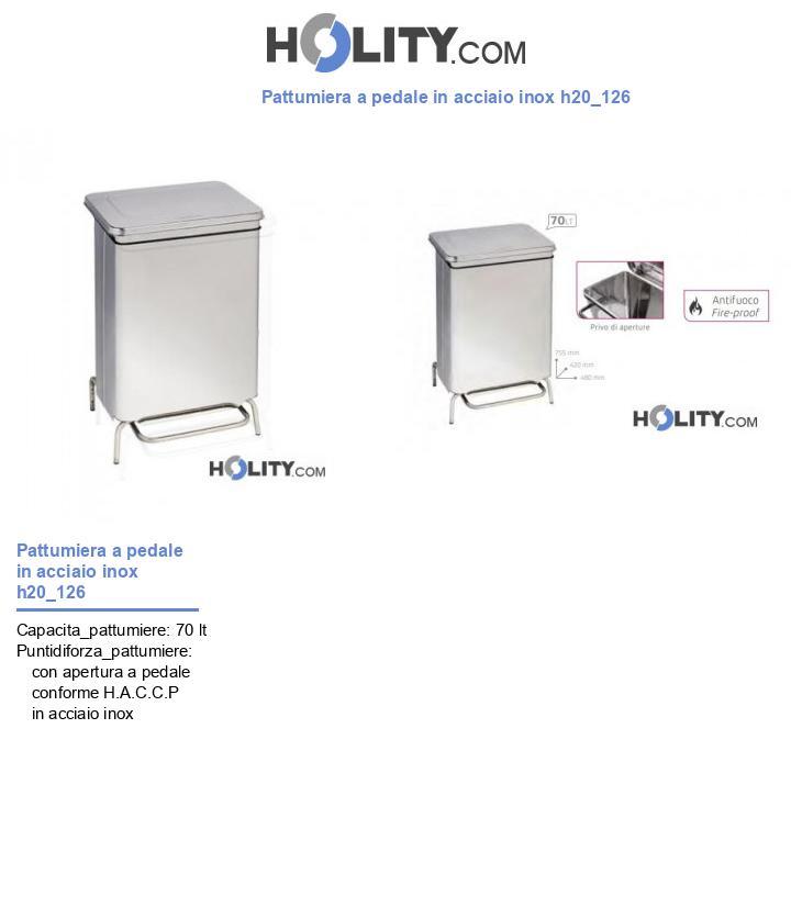 Pattumiera a pedale in acciaio inox h20_126