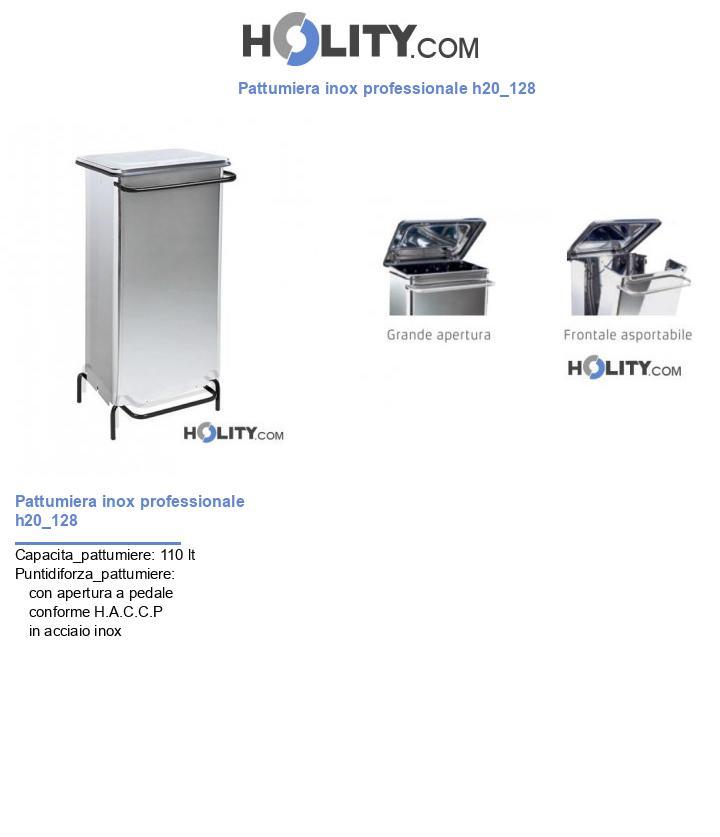Pattumiera inox professionale h20_128