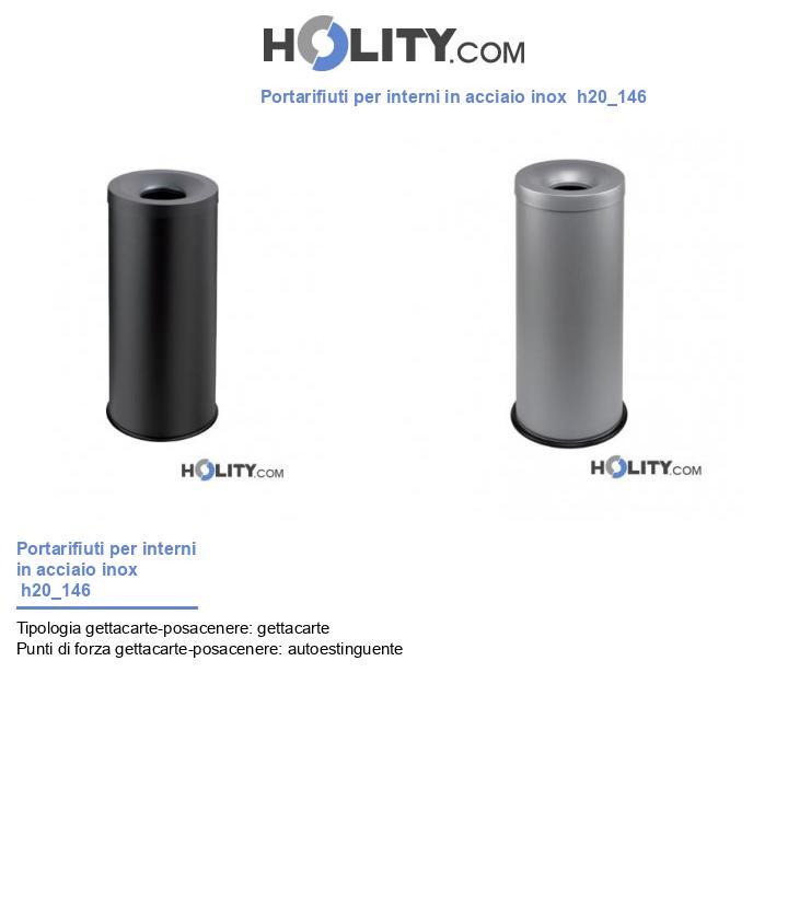 Portarifiuti per interni in acciaio inox  h20_146
