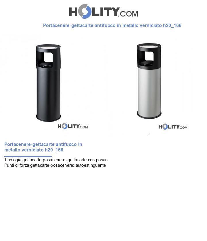 Portacenere-gettacarte antifuoco in metallo verniciato h20_166