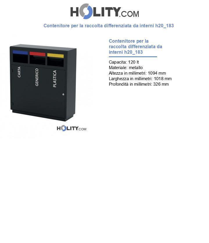 Contenitore per la raccolta differenziata da interni h20_183