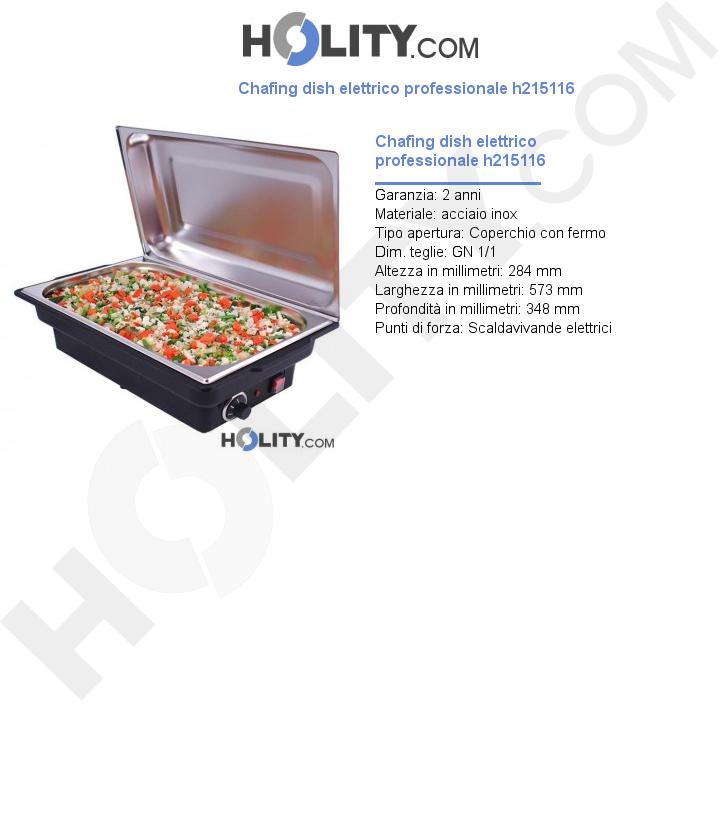 Chafing dish elettrico professionale h215116